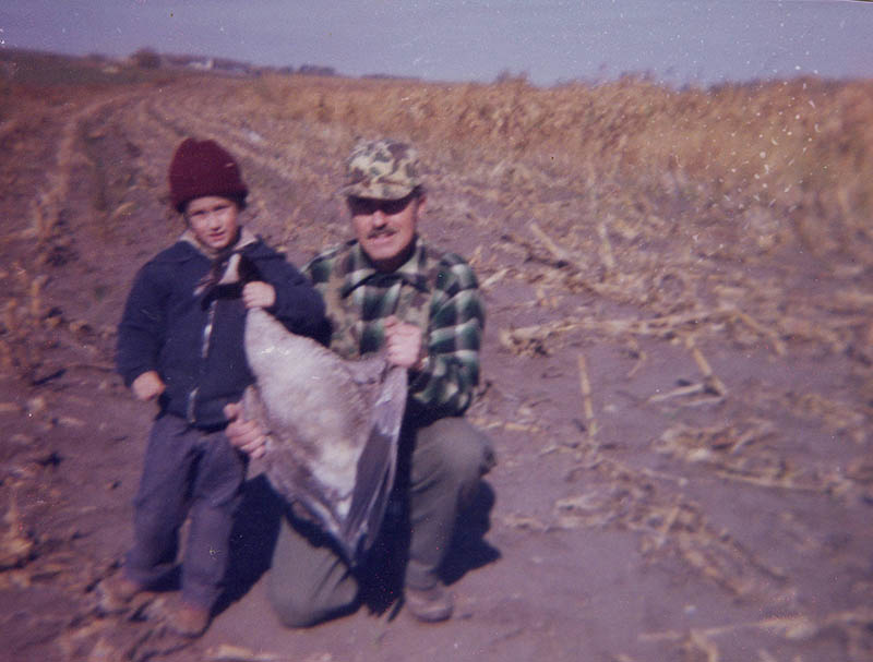 Mark from Modern Carnivore at age 5 with his dad on a first goose hunt