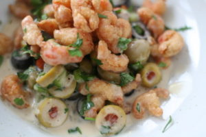Fried Crayfish and Olive Salad