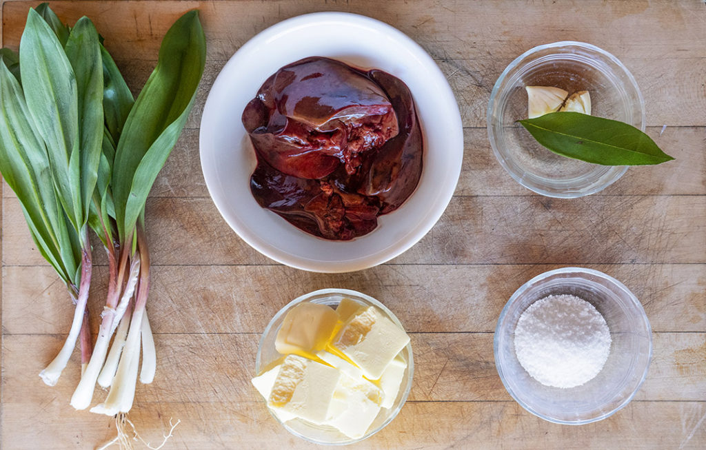 Ramps, turkey livers and other ingredients for turkey liver mousse - Modern Carnivore