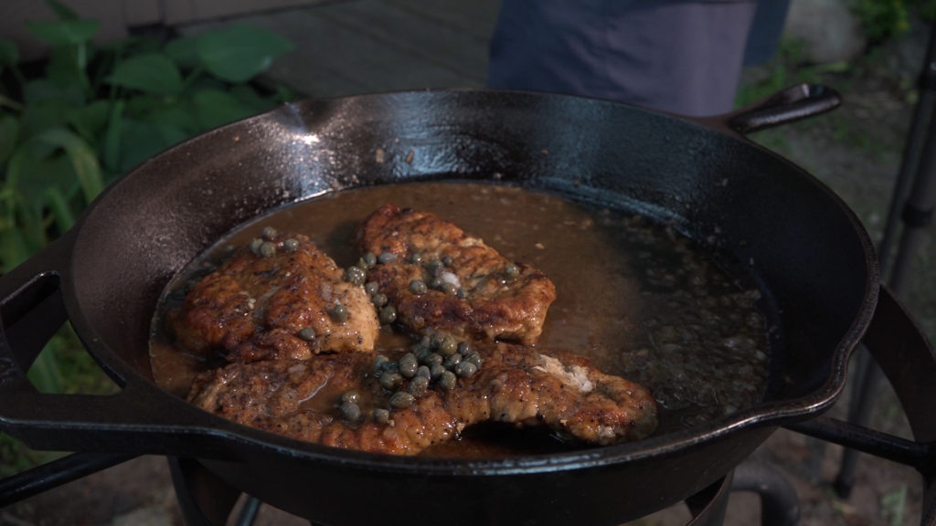 Wild Turkey Piccata in pan with sauce - Modern Carnivore